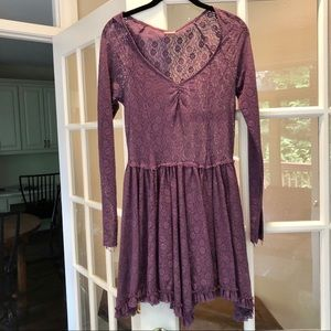 Free People Long-Sleeve Plum lace dress
